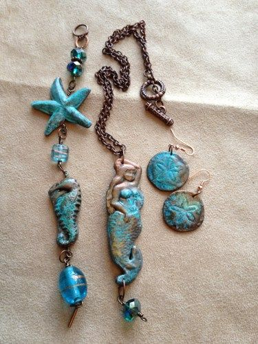 Antiquarian Ocean Mermaid and Sea Necklace, bracelet & earring set