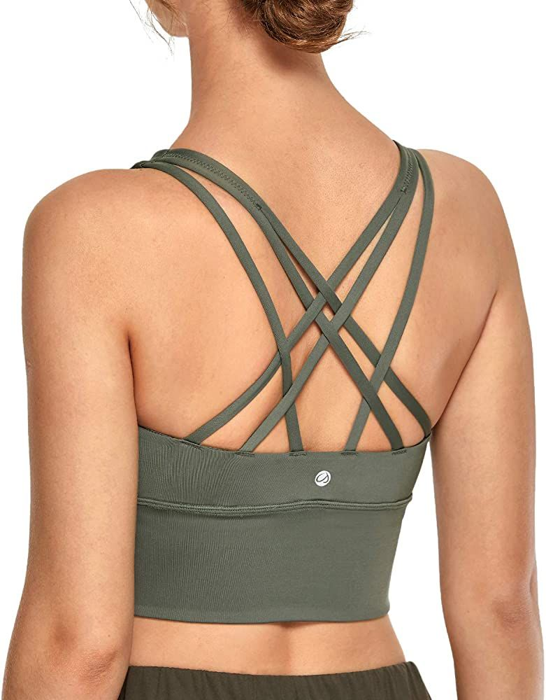 CRZ YOGA Womens Longline Strappy Sports Bras for Women Wirefree Padded Yoga Bras Tops