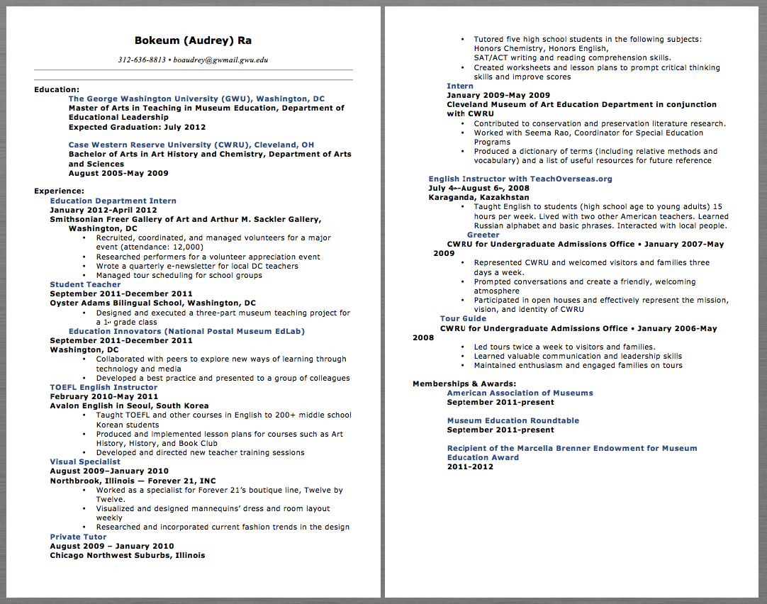 Education Teacher Resume Examples Bokeum Audrey Ra