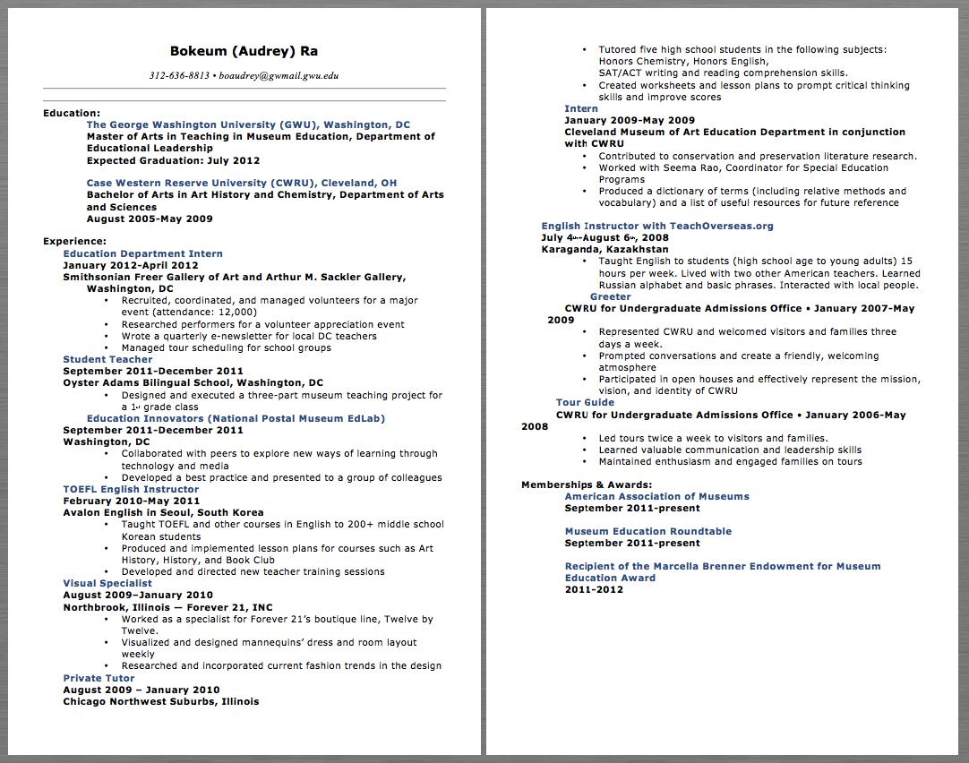Education Teacher Resume Examples Bokeum (Audrey) Ra 312-636-8813 • Boaudrey@gwmail.gwu.edu