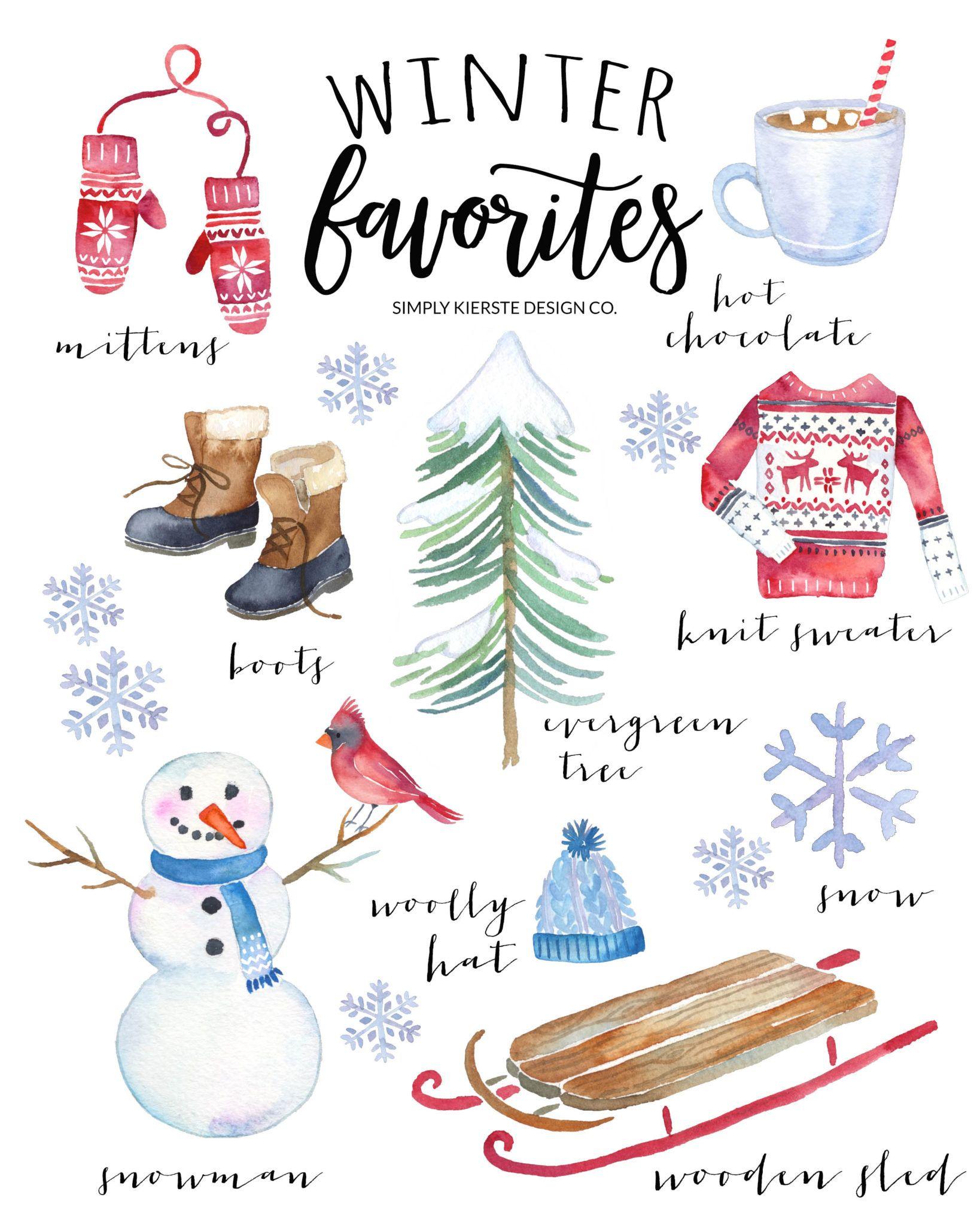Winter favorites: vintage style printable #winterdecor