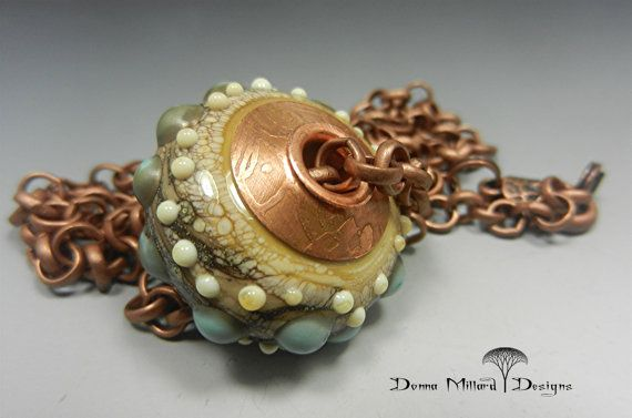 SRA HANDMADE LAMPWORK Glass Focal Disc Bead Pendant