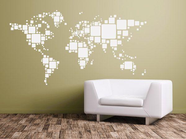 Die Welt In Quadraten   Wandtattoo Weltkarte Mit Quadraten Als Geometrische  Wanddekoration