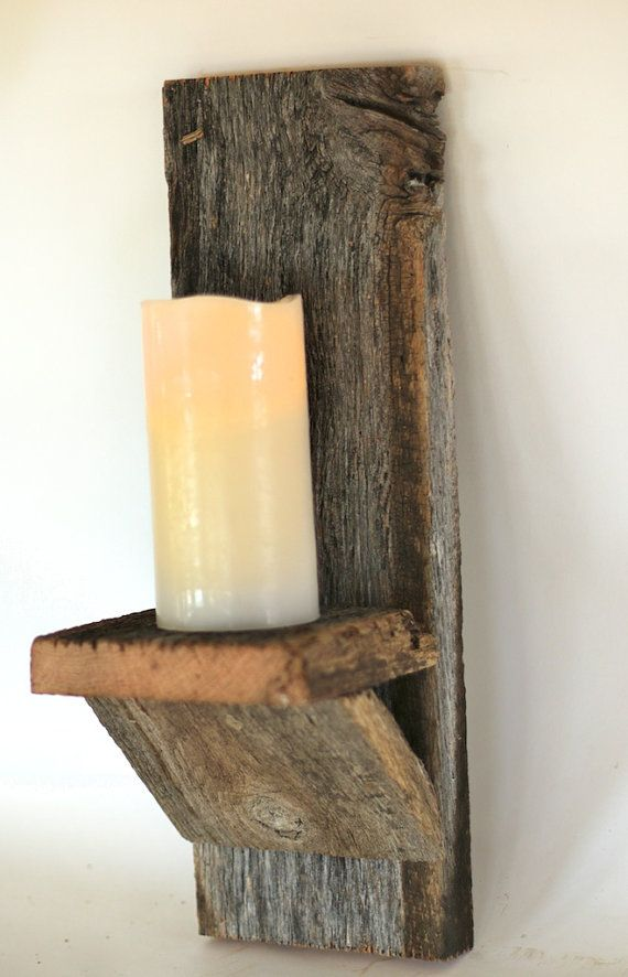 Barn wood candle holder Wall mounted candle door GrindstoneDesign bord van ruud Pinterest ...