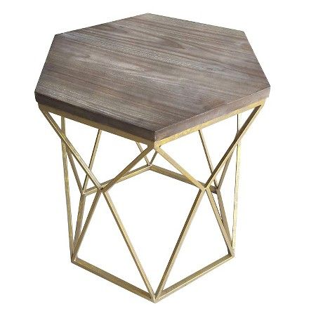 target bedside table chester end table gold metal hexagon threshold target 13444