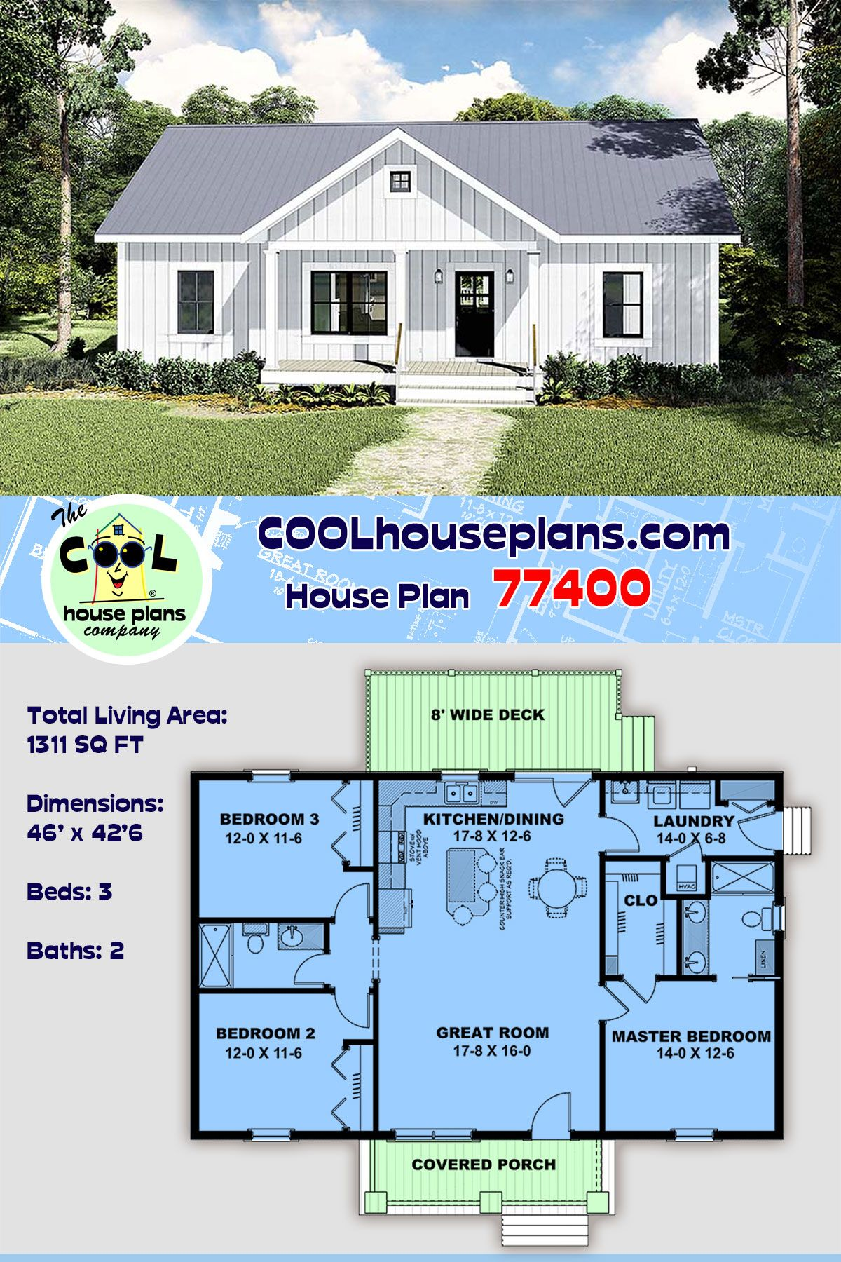 Country Style House Plan 77400 With 3 Bed 2 Bath House Construction Plan Small House Design Plans Ranch House Plans