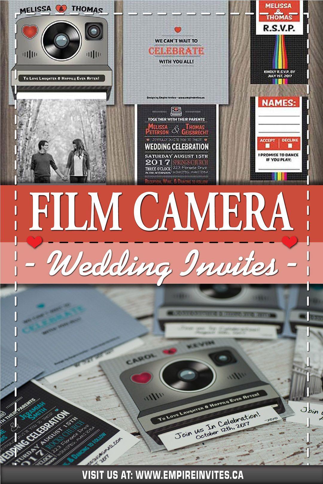 Cheap Online interactive instant film camera wedding invitations From Canada  | Empire Invites, Winnipeg | Instant film camera, Film camera, Wedding  invitations