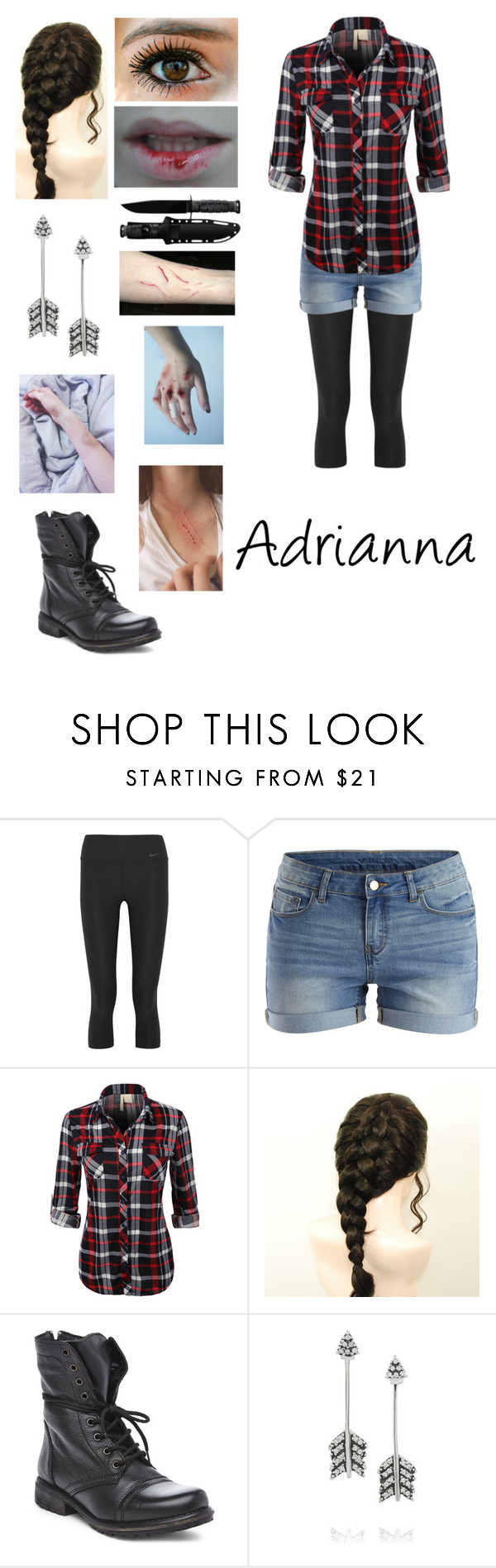 """Adrianna"" by foxykitty ❤ liked on Polyvore featuring NIKE, VILA, Steve Madden, Pamela Love and Honour"
