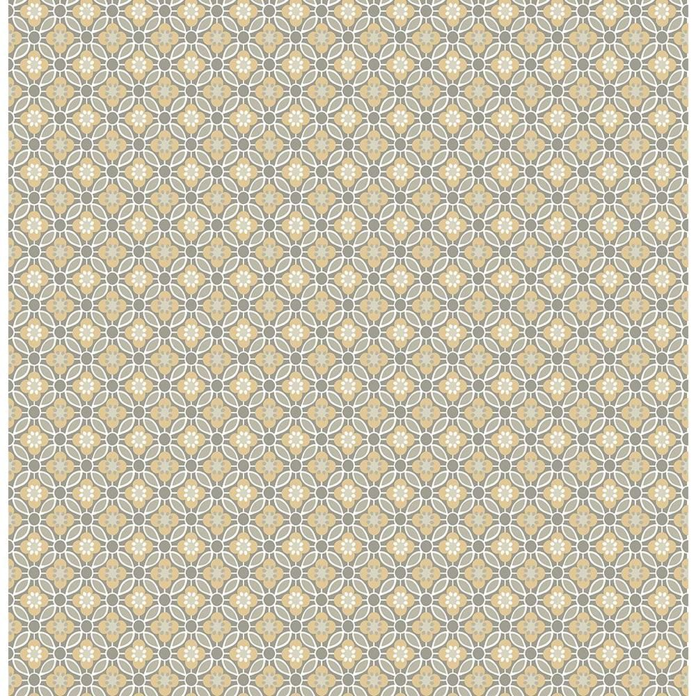 A Street Audra Mustard Floral Wallpaper Sample Yellow Blue