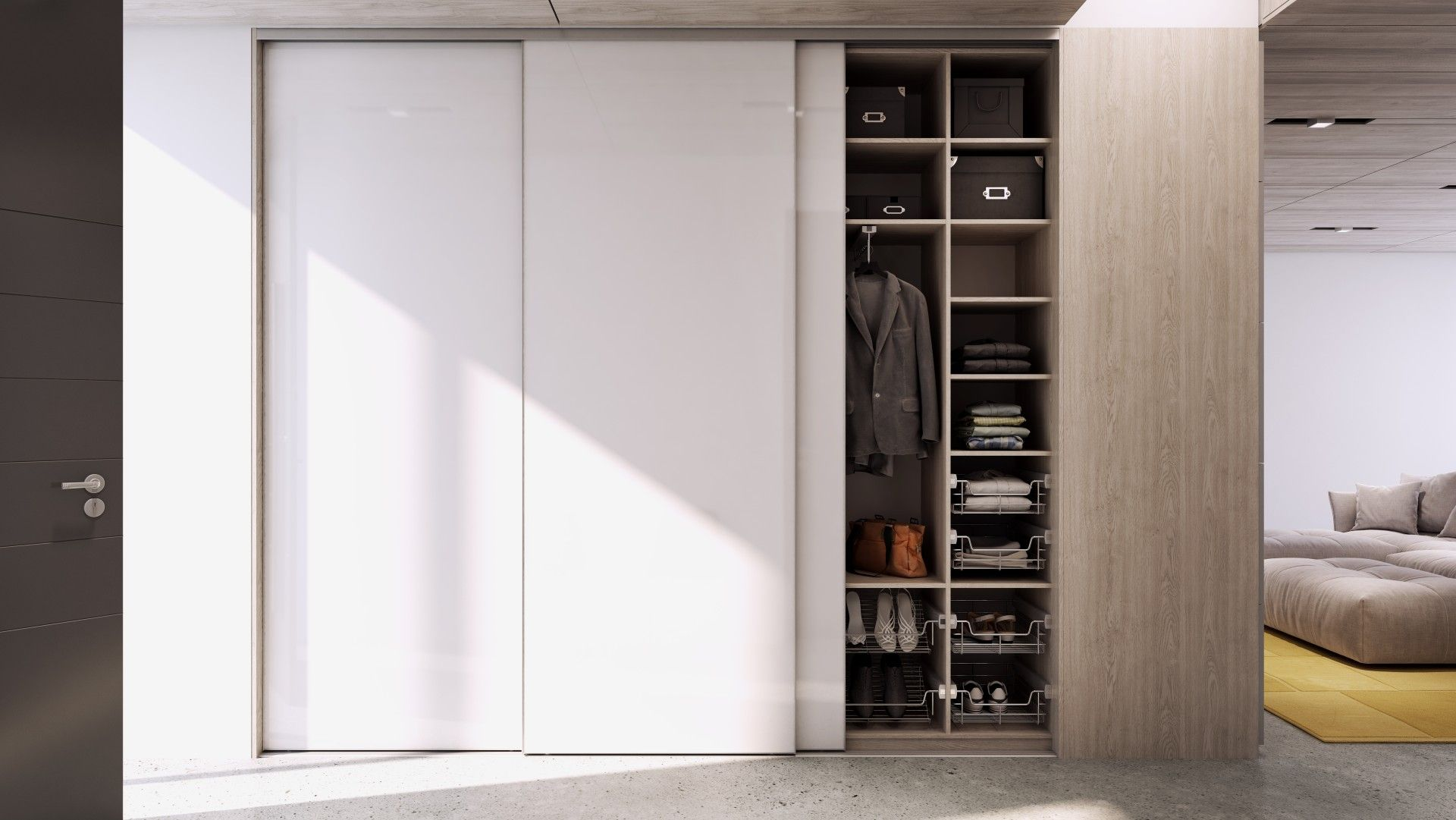 Walk In Wardrobe In Clear Glass Graphite Frame And Led Lights