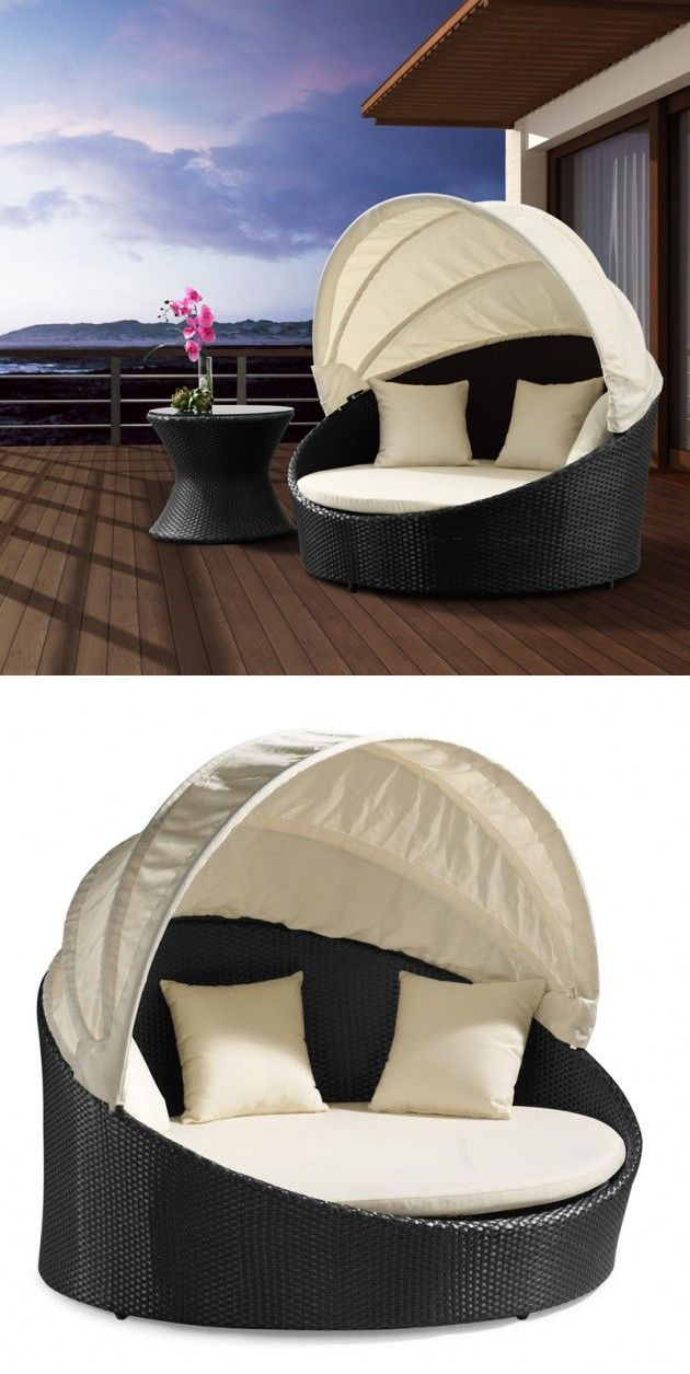 Outdoor canopy bed with retractable top so you can be in for Outdoor lounge bed with canopy