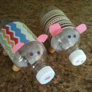 Pop bottle crafts pop bottle piggy banks haylee for Plastic bottle piggy bank craft