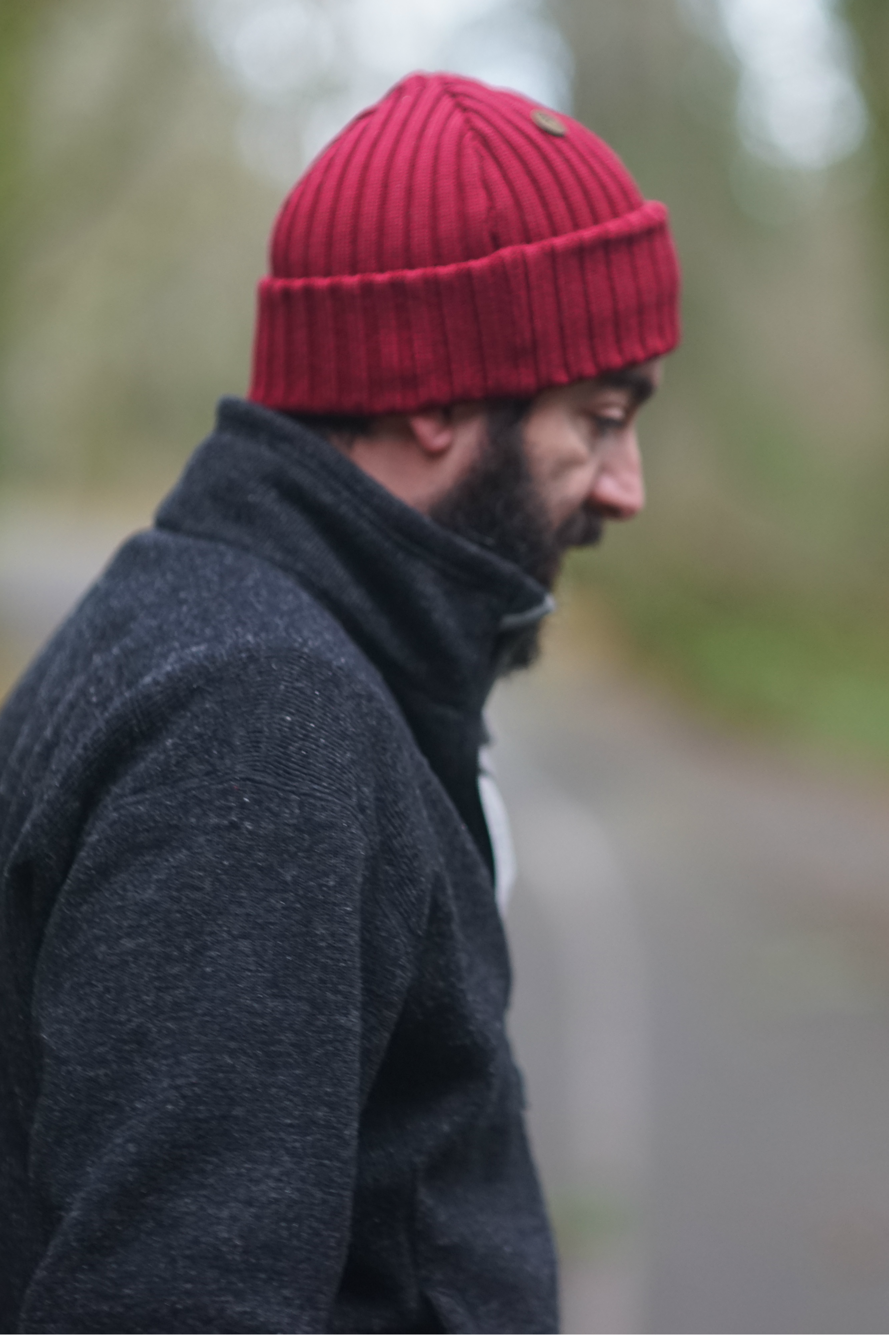4d37a9f2a9e Hipster hiking outfit for Men. Red merino wool beanie outfit for Fall.  Beanie by VAI-KO. Photo and model  secretagentmike    lindseynaglieri