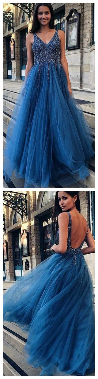 SCHÖNE V-AUSSCHNITT LANGE PROM-KLEIDER MIT PERLEN, MASSGESCHNEIDERTANZKLEIDER, …   – prom dresses