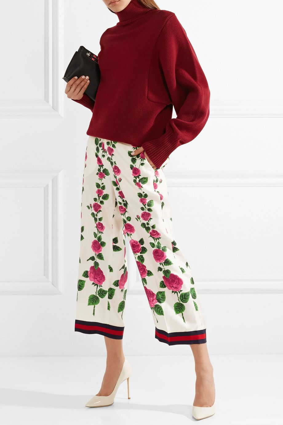Cropped Printed Silk-twill Wide-leg Pants - Red Gucci biHpzi9