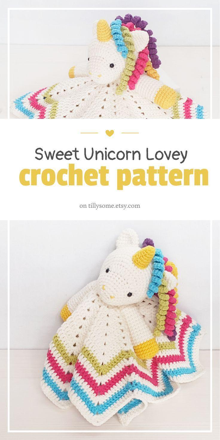 Sweet Unicorn Lovey Pattern | Security Blanket | Crochet ...