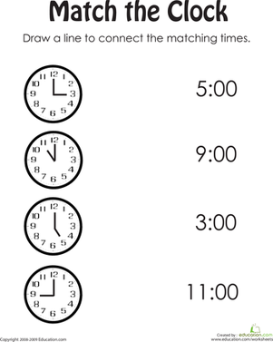 match the clock  homeschooling resources  worksheets kindergarten  help your child practice her time telling with this printable kindergarten  worksheet