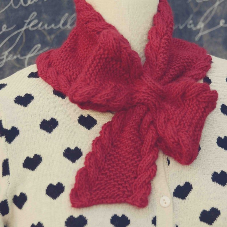Bow Tie Ascot PDF Knitting Pattern Instant Download ...
