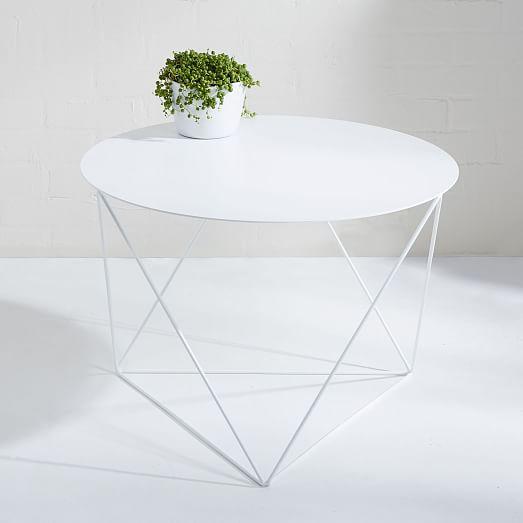 Amigo Modern Octahedron Side Table White Side Tables Round