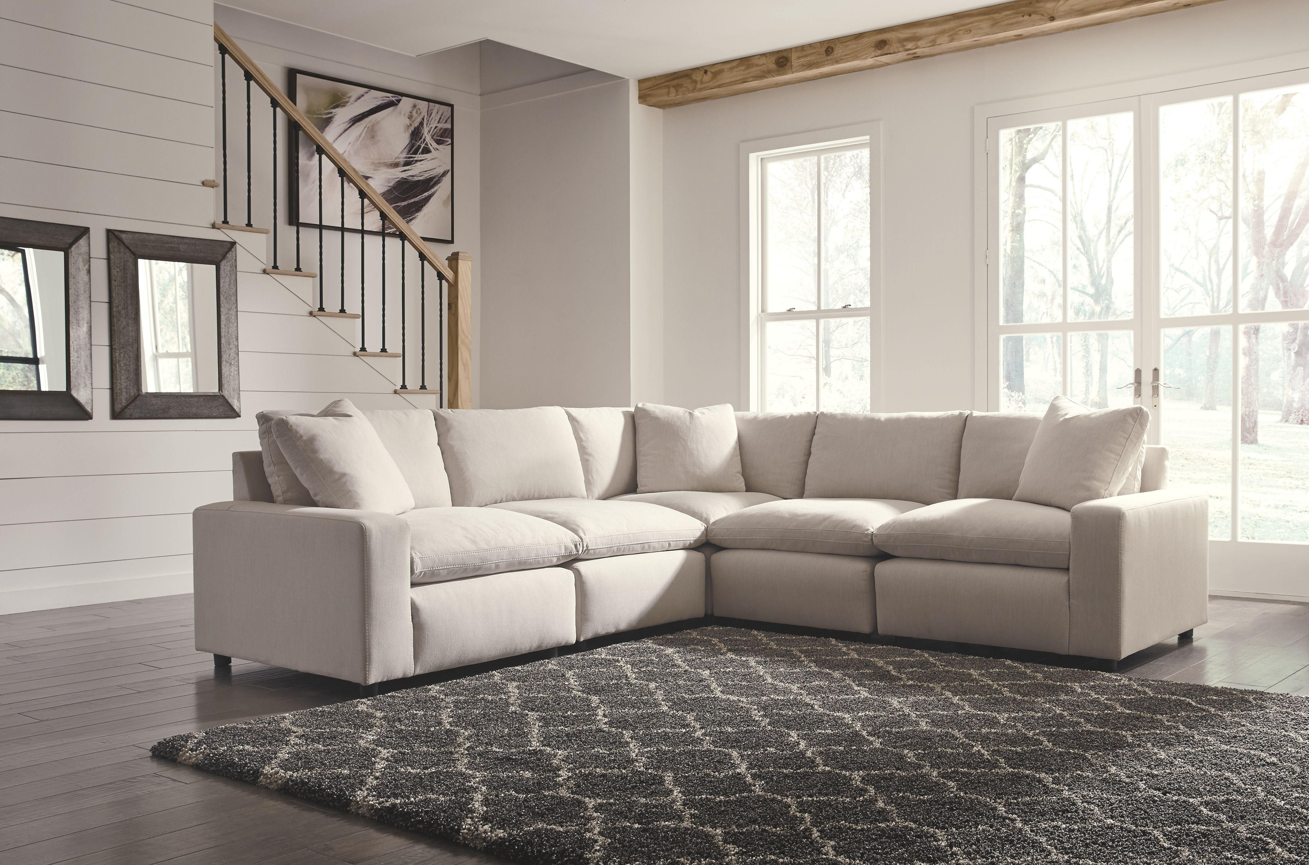 Savesto 5-Piece Sectional, Ivory | Products | Furniture ...