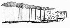 """Right front diagonal view of the complete Wright/Clarke Glider. Light bow-skids are fitted under the extremities of the lower wings at the wing tips."""