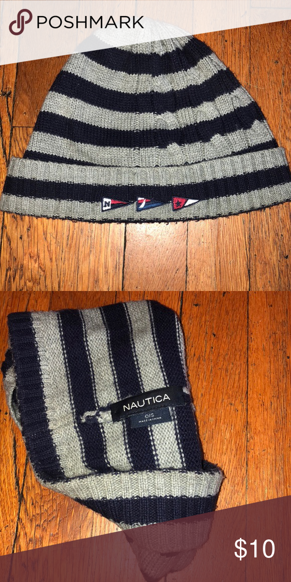 Nautica Beanie Hat Good Condition Gray and Navy Stripes Nautica Accessories  Hats 06c427c254a