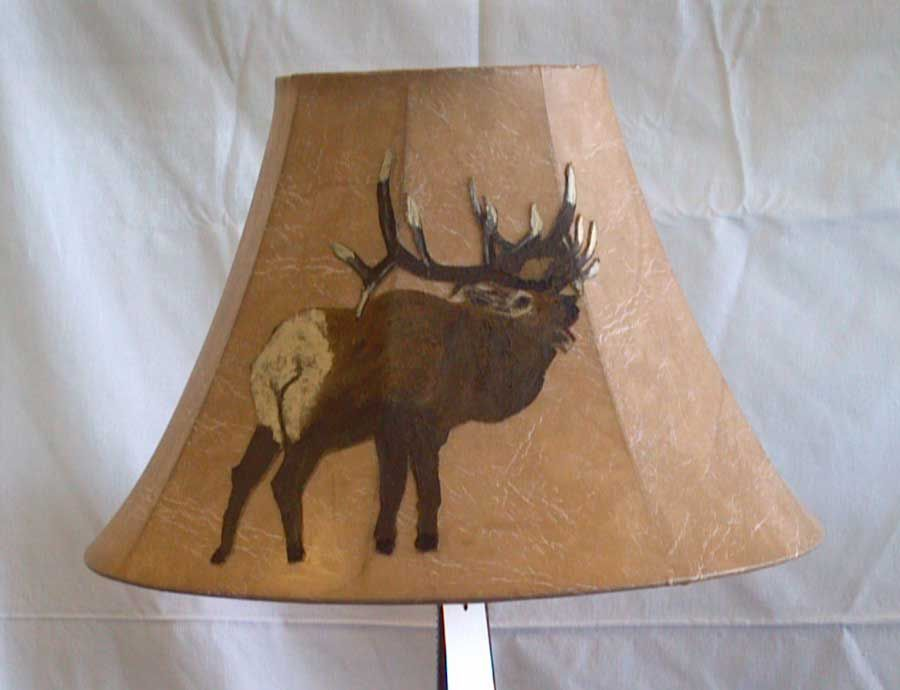 Leather Lamp Shades | ... Faux Leather Lamp Shade Hand Painted Elk Buck  Image