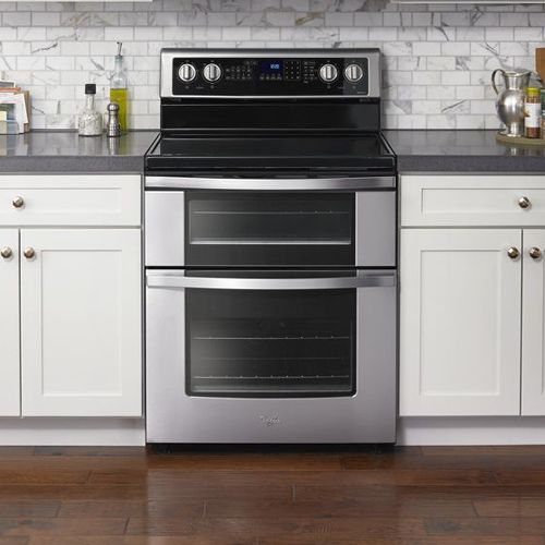 Whirlpool Wge745cofs 30 Stainless Steel Electric Smooth Top Range With 6 7 Cuft Self Cleaning Dou Room Air Conditioner Butcher Block Island Kitchen Appliances