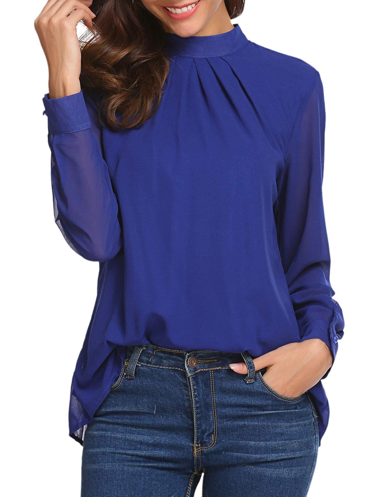 0bda4886a8 Cosbeauty Women Loose Chiffon Tops Blouse Casual Long Sleeve Pleated Tshirt  royal blue size M -