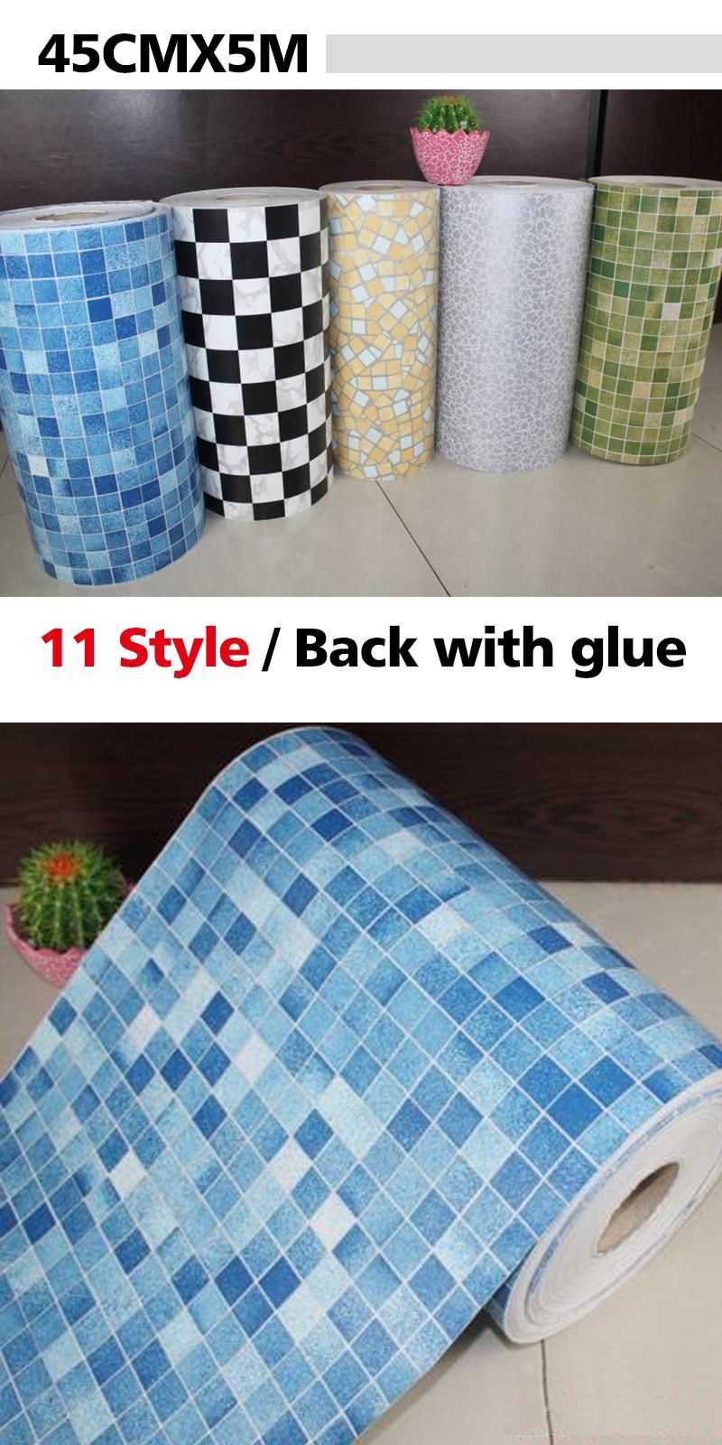 Visit To Buy 5 Meters Vinyl Pvc Mosaic Tile Self Adhesive Wallpaper For Bathroom Wc Kitch Self Adhesive Wallpaper Wall Stickers Home Decor Bathroom Wallpaper
