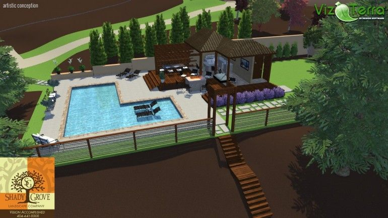 Modern pool and pool house pool design software for Pool studio 3d design