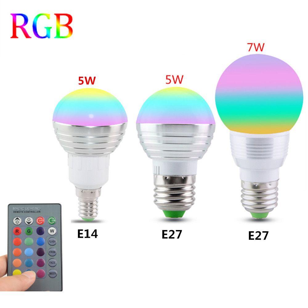 E27 E14 Led 16 Color Changing Rgb Magic Light Bulb Lamp 85265V 110V 120V  220V Rgb Led Light Spotlight Ir Remote Control