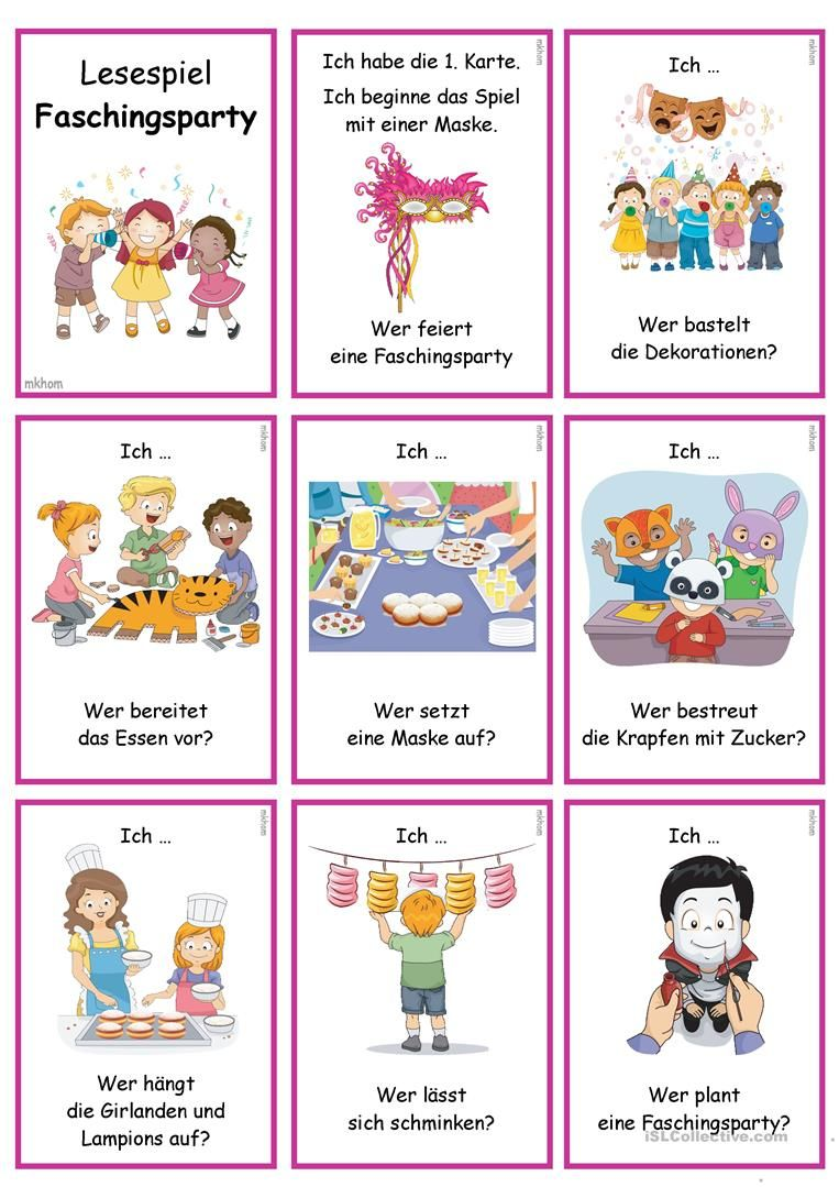 Lesespiel b_ Verbkojugation _Faschingsparty | Teaching materials ...