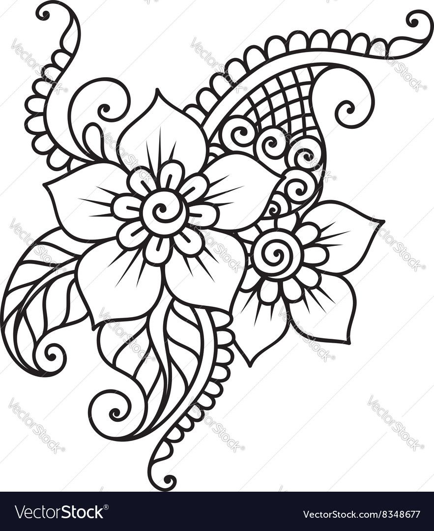 Doodle Vector Illustration Design Element Flower Ornament Download A Free Preview Or High Quality Adobe Illustrat Mehndi Flower Henna Drawings Mehndi Drawing