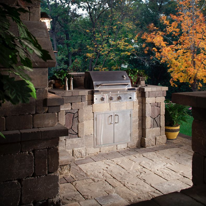 Install A Belgard Grill Island Today And Party Tomorrow Outdoor Stone Fireplaces Outdoor Stone Outdoor