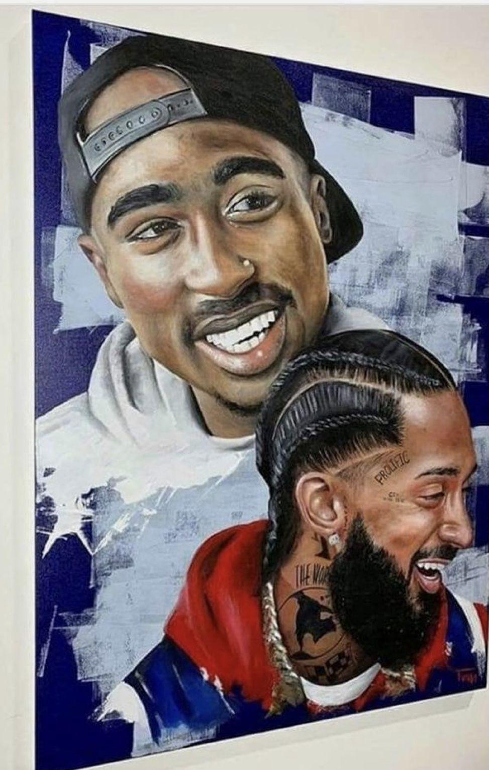 Pin by Zagna on Nipsey TMC Black art painting, Tupac