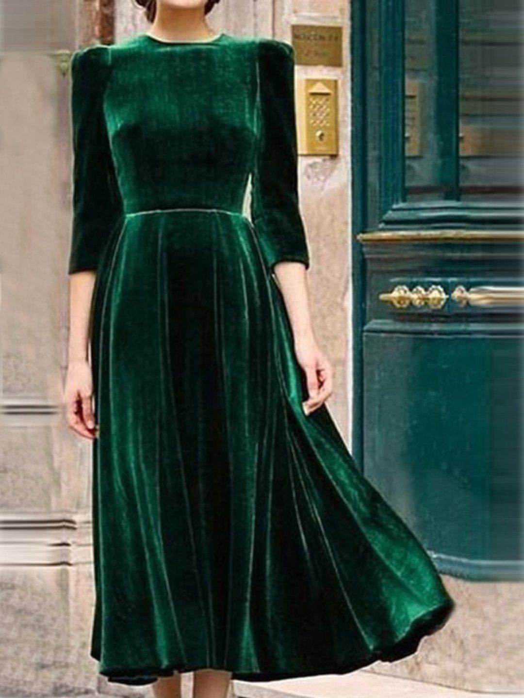 Vintage Dresses Velvet Women Dress Half Sleeve Solid Dresses | dress | Velvet Half Sleeve Vintage Dress -   17 dress Green vintage ideas