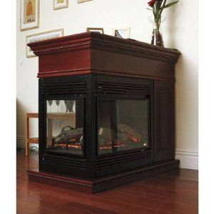Beautiful 3 Sided Peninsula Electric Fireplace With Coffee Glaze Mantle Hearth Ebay Fireplace Electric Fireplace Hearth