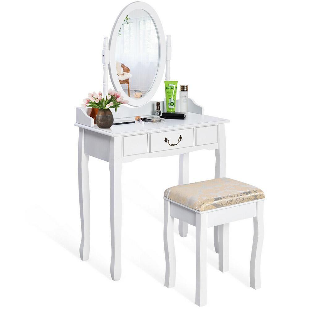Costway White Vanity Table Jewelry Makeup Desk Bench Dresser With Cushioned Stool Drawer Hw50200 The Home De Vanity Table Set White Vanity Table Vanity Table [ 1000 x 1000 Pixel ]