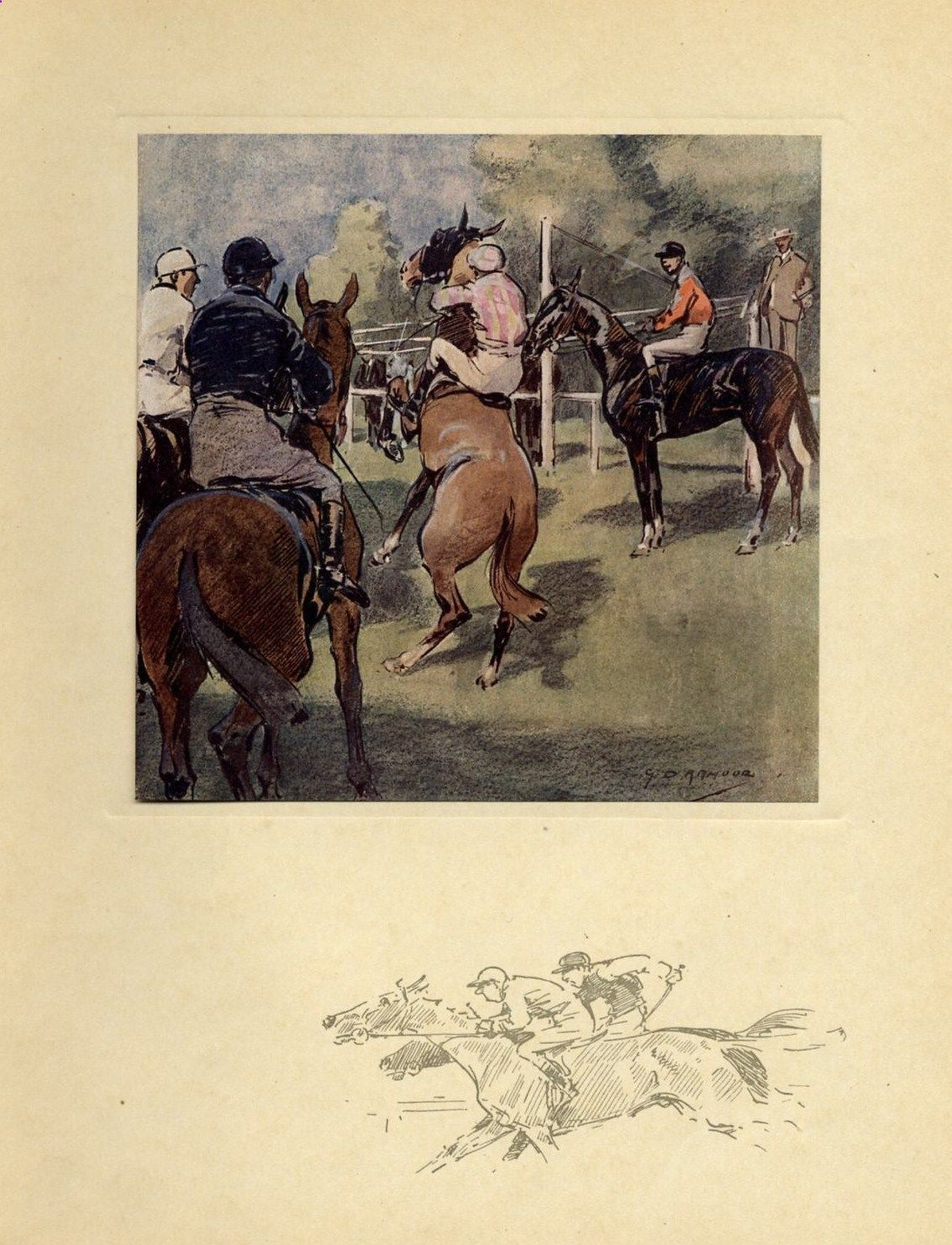 Horse Racing The Starting Gate Jockey Whip Antique Color Print Race