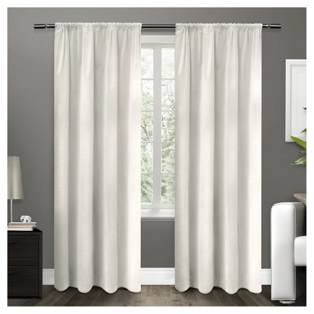 Cotton Velvet Blackout Curtain Panel Navy 54 X 84 Exclusive Home