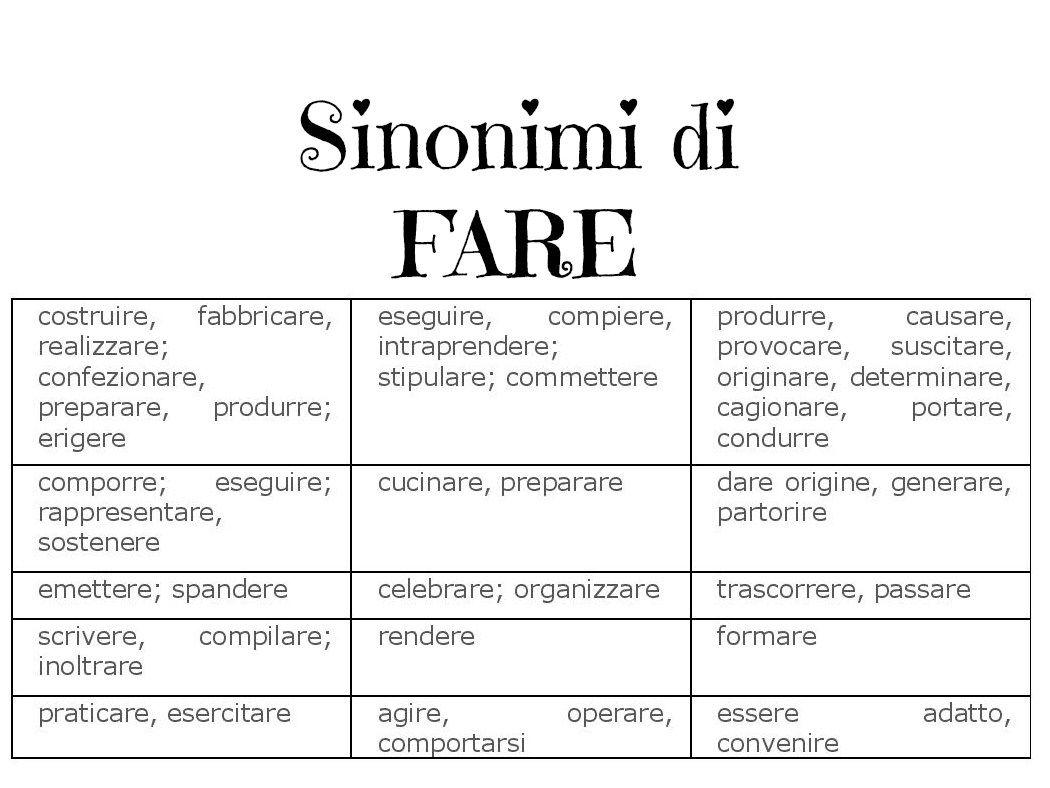 Sinonimi Di Fare Italiano Pinterest Italian Language Italian