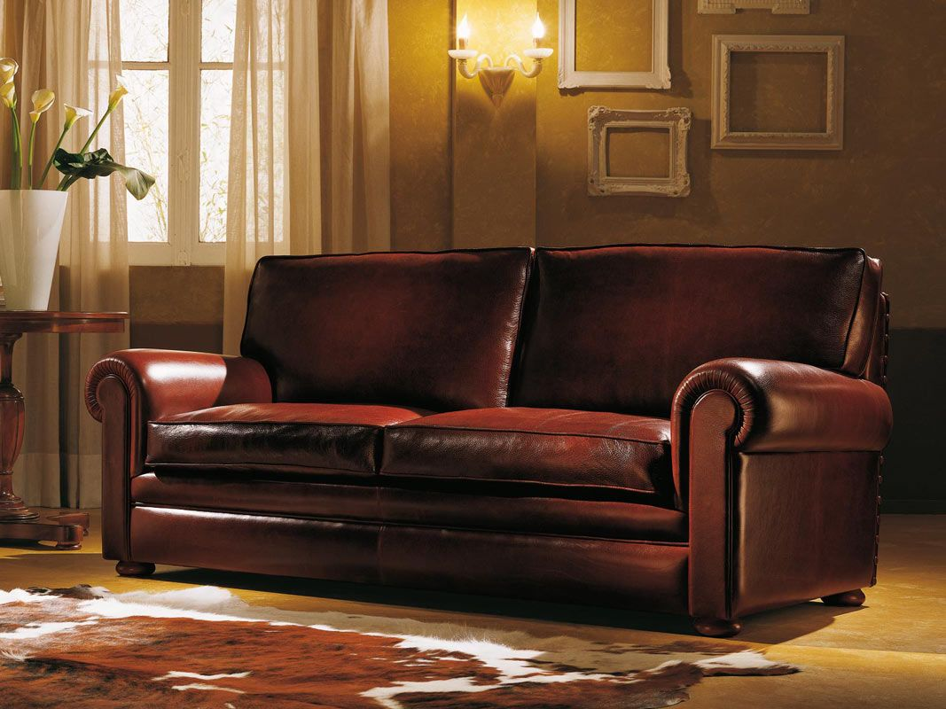 Furniture marvelous leather sofa denver design with soft for Traditional brown leather couch