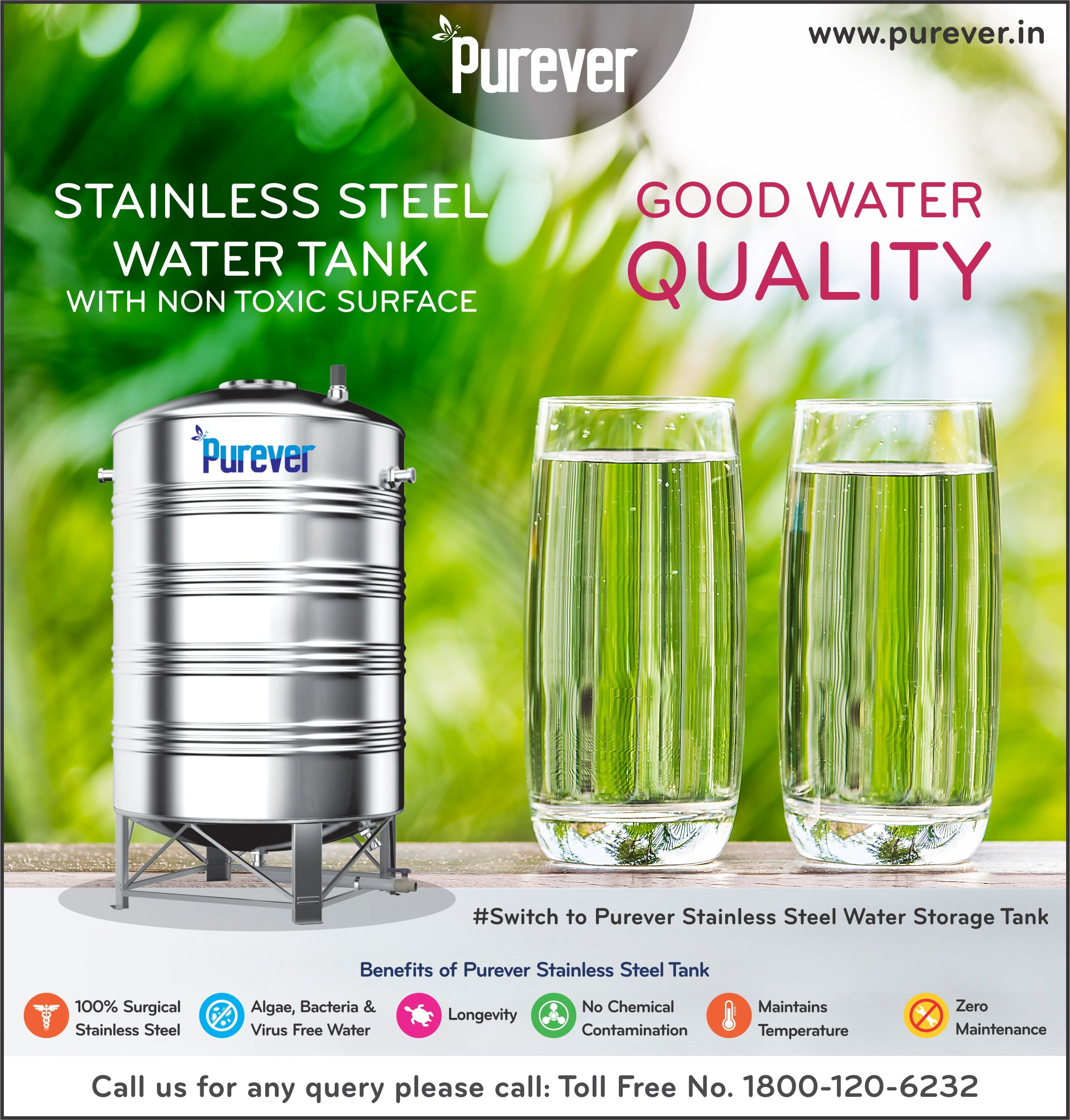 Purever Stainless Steel Water Tank Non Toxic Surface Good Water Quality Switch To Purever Stainless Steel Steel Water Tanks Water Storage Tanks Water Tank