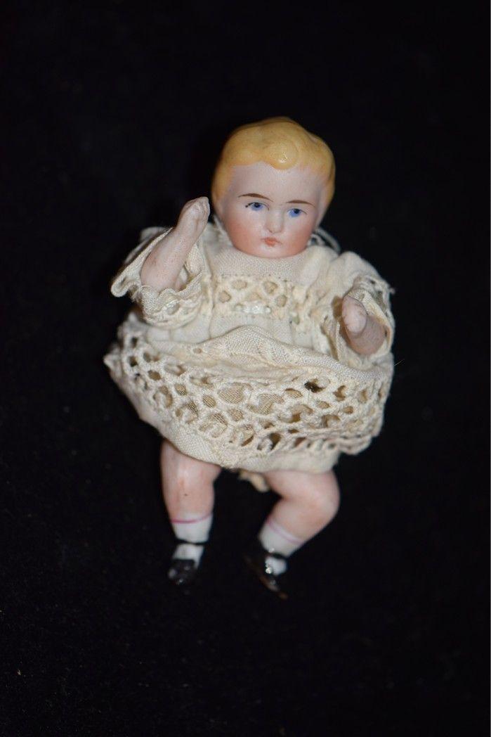 Antique Doll Miniature Bisque Bent Knee Child Dollhouse Adorable