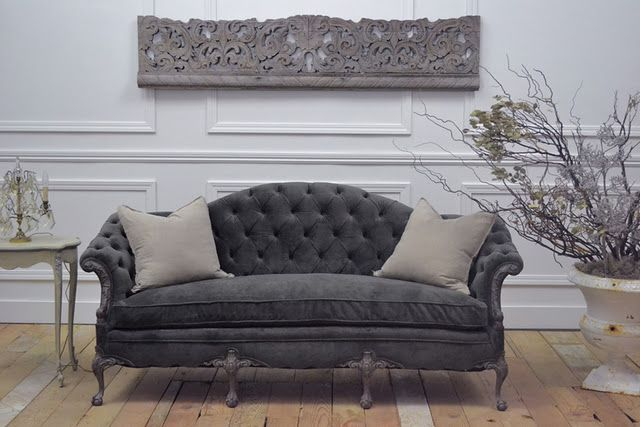 I Think Will Recover My Antique Sofa In Gray Velvet