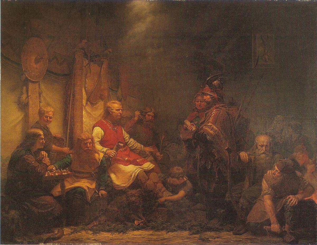 Konung Ellas sändebud inför Ragnar Ladbroks söner (1857) av August Malmström - Regnar Lodbrog - Wikipedia, den frie encyklopædi