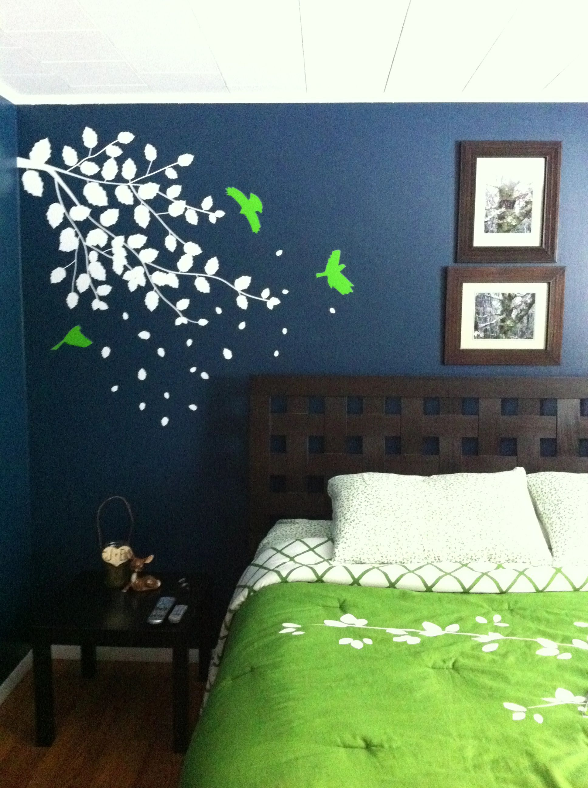 Dark blue bedroom with bright green accents wall color behr restless sea bedding kate spade wall decal popdecals on etsy