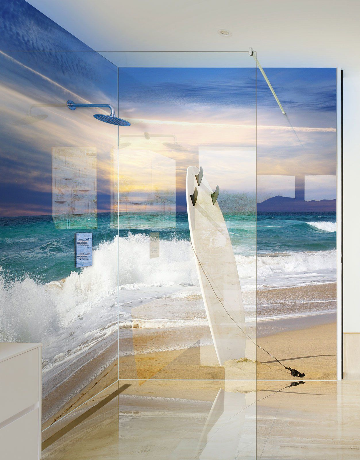 Surf Board In The Sand On A Beach Printed Acrylic Shower Panel Glass Shower Wall Shower Panels Wet Wall Shower Panels