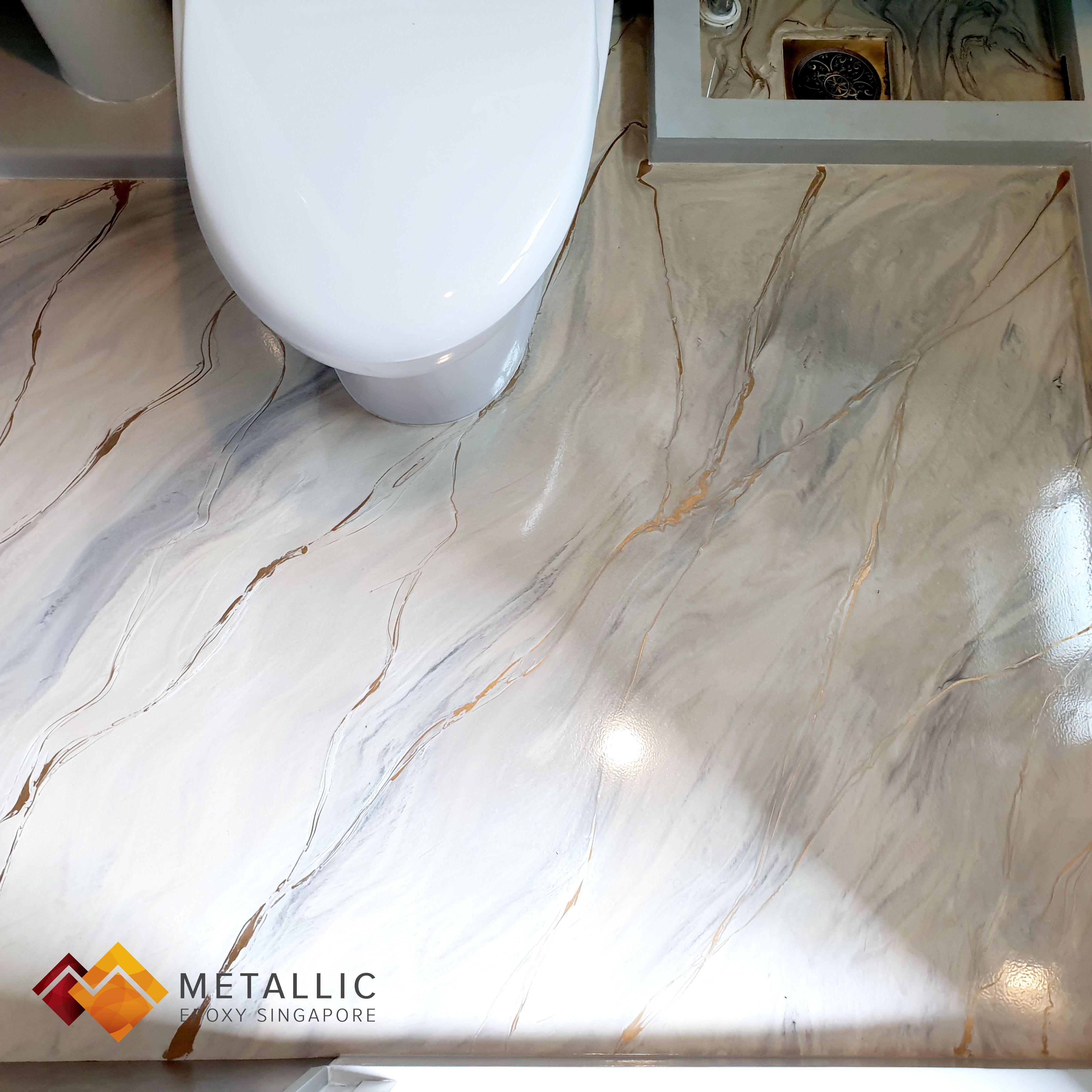 Metallic Epoxy Singapore Coffee Gold Highlights On Light Brown Base Bathroom Floor Bathroom Flooring Metallic Epoxy Floor Epoxy Floor